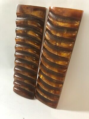 2 Golden Brown Cast Resin Scales 6X 1.75x3/8 Impala Horn Style Knife Handles