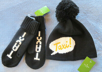 Kate Spade Taxi Beanie & Mittens Set Hat Gloves Cap Black White Yellow Knit NEW