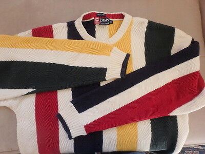 Chaps Ralph Lauren Sweater Mens Men's XL Wide Stripe Nautical Knit Colorful