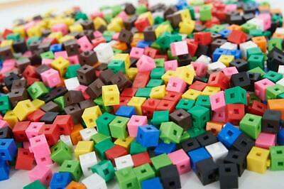 100 Plastic Cubes Counting Interlocking Snap Building Maths Home Early Learning