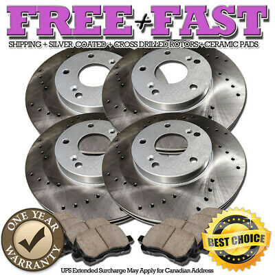 C0902 FRONT+REAR Drilled Brake Rotors Ceramic Pads FOR 2003 2004 BMW 330i 330XI