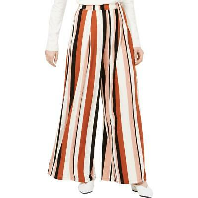 Bar III Womens Ivory Striped Wide Leg Pull On Dress Pants XS BHFO 0539