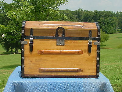 Antique Trunk By The Robinson Bros.  Unique Lid   Great Restoration