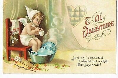 ANTIQUE EMBOSSED VALENTINE Postcard     CUPID HAS A CHILL, FEET IN HOT WATER