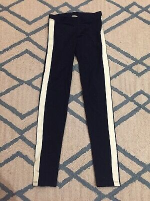 Crewcuts Girls Tuxedo Stripe Leggings, Navy And Off-White, NWOT