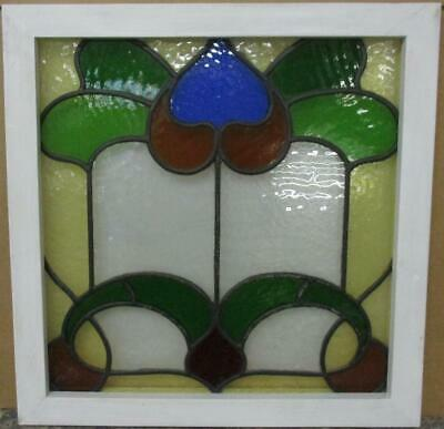 "OLD ENGLISH LEADED STAINED GLASS WINDOW Colorful Abstract Design 19.75"" x 20.25"""