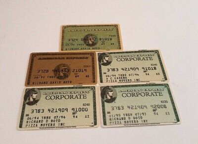 5 VINTAGE AMERICAN EXPRESS CREDIT CARDS Signed, Expired 1990's