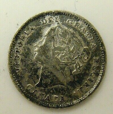 1896 Bargain Canada 5 Cent Silver, Free Shipping In Usa