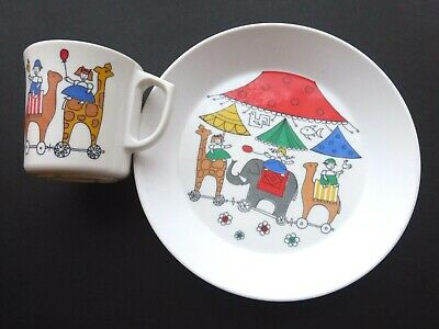 Vintage Gustavsberg Ornamin Baby Plate & Cup Circus Design