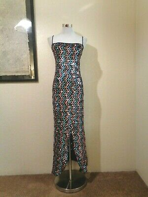 70s FUNKY BLACK KNIT COVERED IN BLUE & PINK SEQUINS CENTER SLITS SHEATH DRESS S