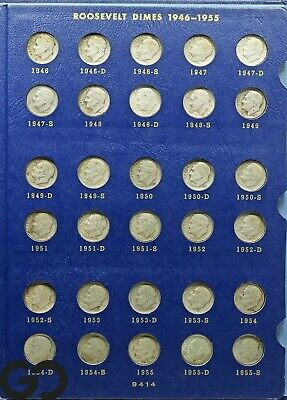 1946 to 1964 Roosevelt Dime Silver 10c Set, With Extras