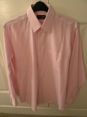 Marks & Spencers Tailoring Easycare Pink /White Striped Shirt 15 1/2