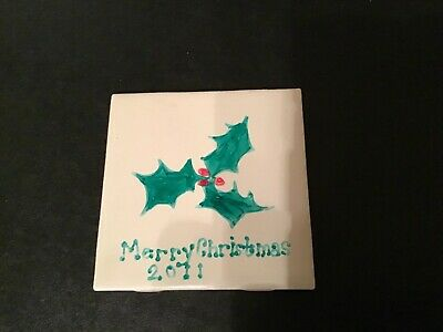 Christmas Tile Holly Berry Holiday Trivet Vintage Gift 2011 4.5 x 4.5