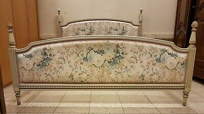 Fab Vintage French Painted Louis XVI Style King Size Bed Romantic Floral Fabric