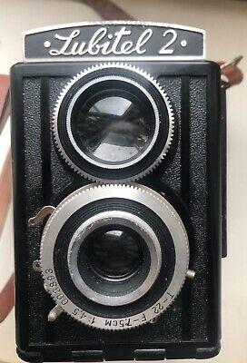 Vintage Soviet Lubitel 2 TLR Film Camera with Original Casing(not Tested)