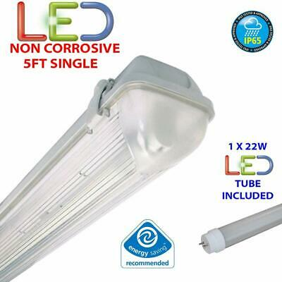 2ft 4ft 5ft Twin IP65 Non Corrosive Waterproof Fluorescent Strip Light FREE TUBE