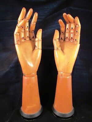 Pair of mannequin FULLY articulated CARVED hands BELGIAN MIDCENTURY ARTIST MODEL