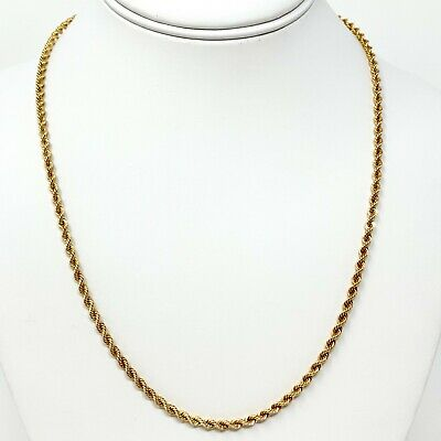 "14K Solid Yellow Gold 3mm Rope Chain Necklace Mens Women 16"" 18"" 20"" 22"" 24"" 30"""