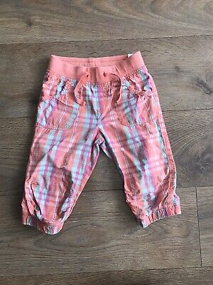 H&M girls cropped trousers 3-4 years pink orange checked elasticated waist A131