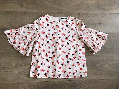 Marks & Spencer girls top 11-12 years pink heart print fluted sleeves C143