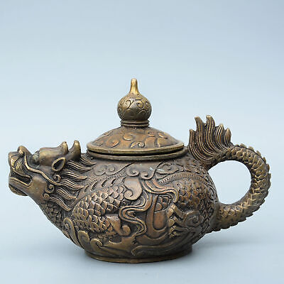 Collectable Chinese Old Bronze Hand-Carved Myth Dragon Auspicious Noble Tea Pot