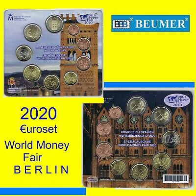 Cartera Oficial F,N.M.T.€uroset. ESPAÑA 2020. WORLD MONEY FAIR BERLIN