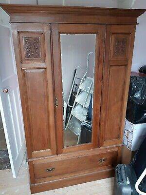 Antique original hardwood wardrobe with bevelled mirror door.shabby chic