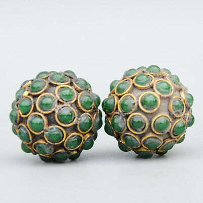 Collectable Chinese Handwork Copper Mosaic Jade Carve Interesting Ball Statue