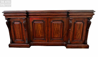 Huge Stunning Antique Victorian Mahogany Breakfront Sideboard Hall Buffet Table