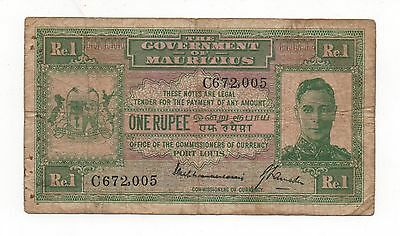 Mauritius 1 Rupee 1940 Pick 26 Look Scans (B)