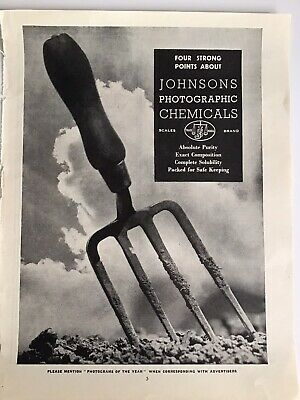 JOHNSONS Photographic Chemicals, 1945 Vintage Photography Advert