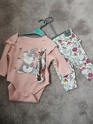 Disney Bambi Thumper Baby Girls 3-Piece Outfit 0-3 Months. New without Tags