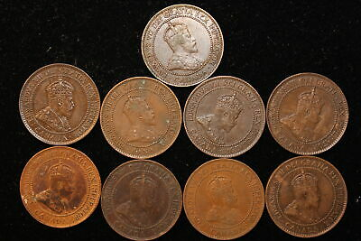 Various Years. Canada. Edward VII. Large Cent. 9 Coin Lot.