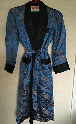 Vintage Men's Chinese Oriental Blue Robe With Belt Size 44