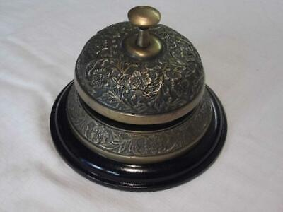 Pretty Antique Vintage Style Large Embossed Bronze Brass Hotel Shop Counter Bell