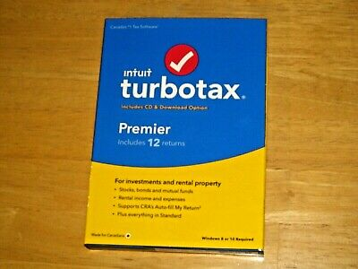 TURBOTAX PREMIER 2019 for Canada (Includes 12 returns, Bilingual *NEW, Original)