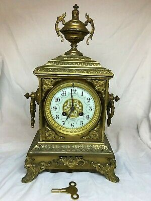 Japy Freres & Cie. Fully restored 8 day striking gilt French drum clock