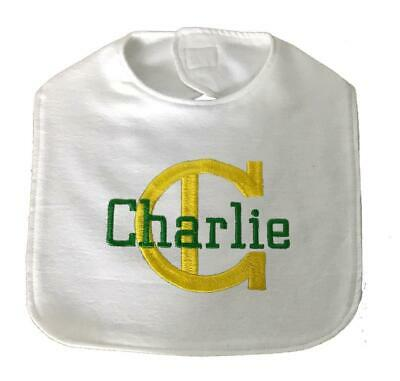 New Handmade Personalized Embroidered Yellow 100% Cotton Flannel Baby Boy Bib