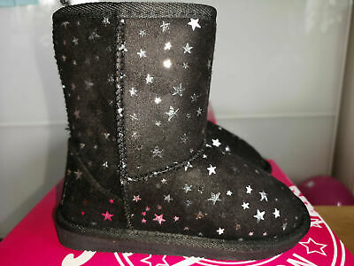 girls Pineapple Black Star ankle WINTER Boots uk size 2 KIDS BLACK SHOES