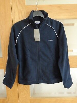 New Reebok Micro Fleece Full Zip Size 14 Navy. Track Top. Jacket. New with Tags.