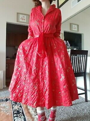 Vintage 50s Hostess Linda Gown Red Hearts Novelty Quilted Small Original