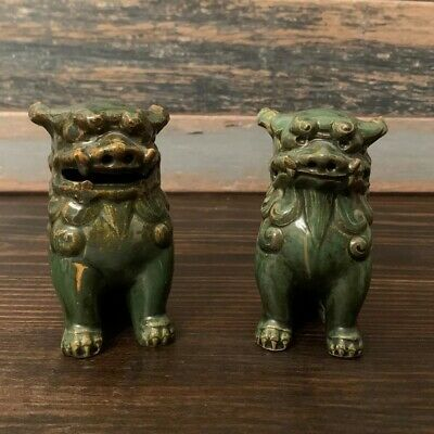 Vintage Chinese FOO DOGS Green Glazed Ceramic 3 1/2""