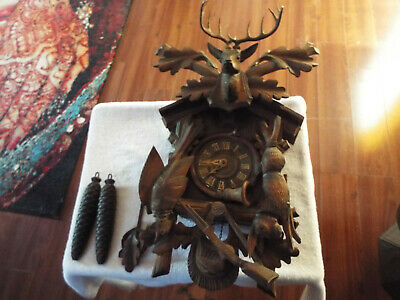 Antique Black Forest  Cuckoo Clock ~Stag, Rabbit, Pheasant, Rifle No Reserve!!