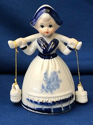 Beautiful Blue Delft Girl with Milk Buckets Figurine ~ Lovely Painting of Face