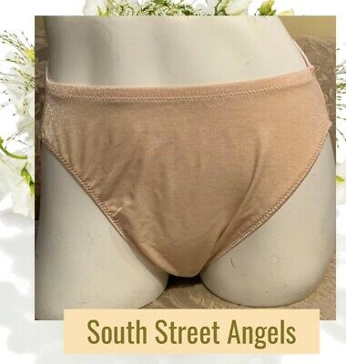 Vanity Fair ~ Shimmering Nude ~  Nylon Hi-Cut Panties ~ Size Large