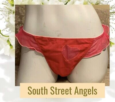 Victoria's Secret Vintage ~ Red / Pink Heart Mesh ~  Sexy Thong Panties ~ M / L
