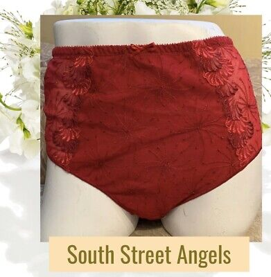 Chantelle 3998 Ruby Red Bastille High Waist Full Brief Panties ~ Size Usa Large