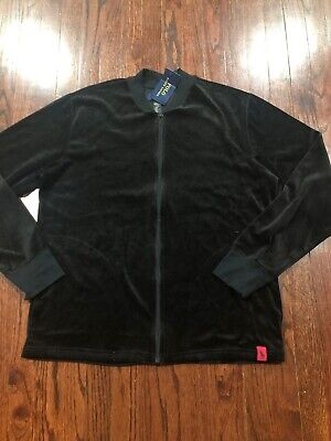 NWT$52 Ralph Lauren Polo Men's Velvet Full-zip Jacket Black Size L
