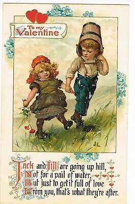 """ANTIQUE VALENTINE Postcard    """"JACK AND JILL ARE GOING UP HILL, NOT FOR A ..."""""""