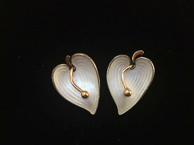 Sterling Silver 925 S White Enamel Einar Modahl ANTHURIUM Clip EARRINGS Norway